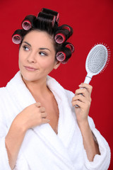 Woman with curlers