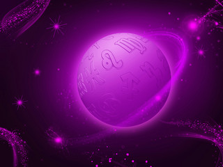 Zodiac planet background purple