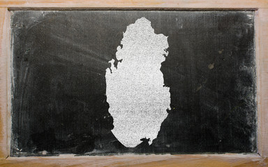 outline map of qatar on blackboard