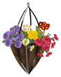 bright flowers in bag illustration