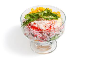 crabstick salad with corn.