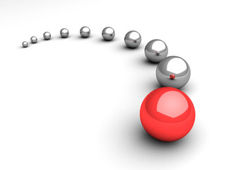 leadership concept with red ball leader on white background