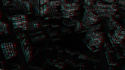 Flying above City at Night, Stereoscopic 3D