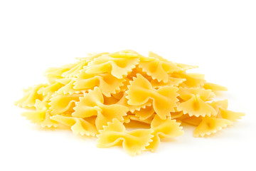 Farfalle pasta isolated on white background.