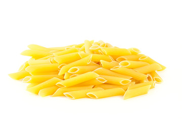 Pasta Penne isolated on white background.