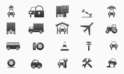 collection of the gray car icons