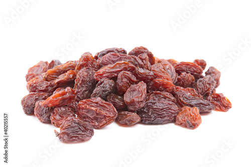 Raisins isolated on white background.