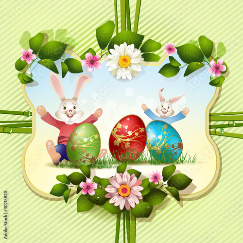 Easter card with bunnies and eggs