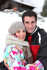 Couple enjoying a mountain holiday