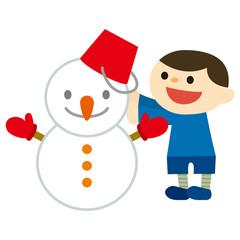 雪だるまをつくる男の子