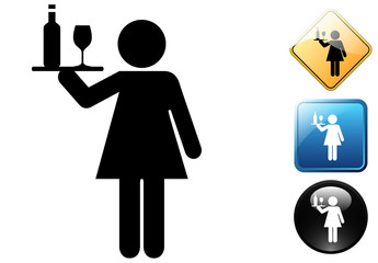 Waitress pictogram and icons