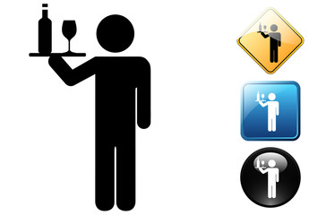 Waiter pictogram and icons
