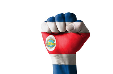 Fist painted in colors of costa rica flag