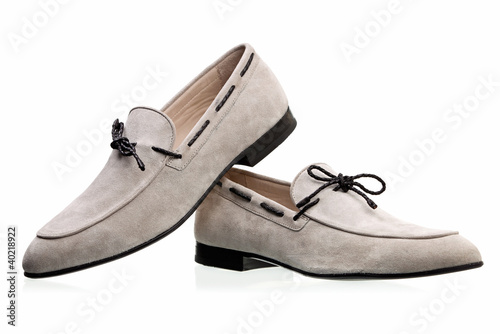 Pair of elegant men shoes over white background