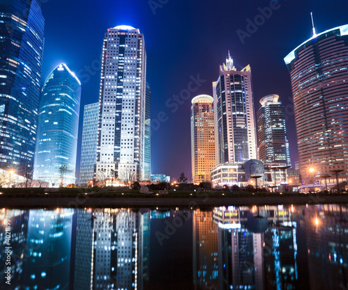 Fototapeta night view of shanghai financial center district