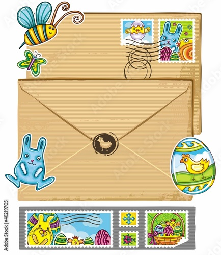 Easter theme envelope and stamps