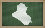 outline map of iraq on blackboard
