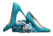 Pair of turquoise women shoes, belt and silk scarf