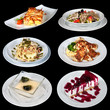 Set of different meals and deserts
