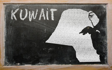 outline map of kuwait on blackboard