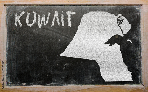 outline map of kuwait on blackboard
