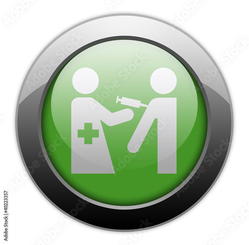 "Green Metallic Orb Button ""Immunizations"""