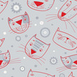 Seamless pattern of cartoon cats faces