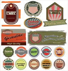 Retro label style collection set