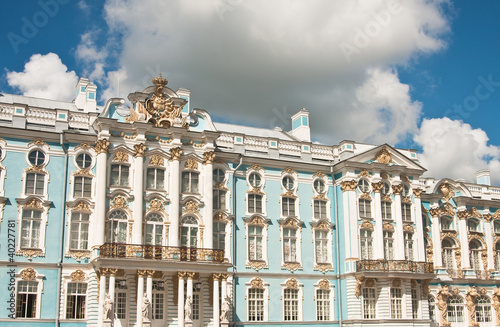 The Catherine Palace, located in the town of Tsarskoye Selo (Pus
