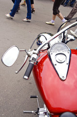 Choper shiny motorcycle speedometer red fuel tank