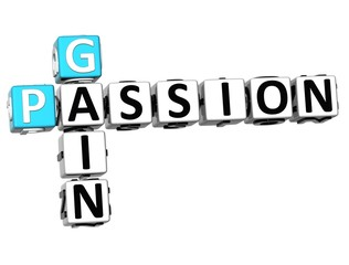 3D Gain Passion Crossword text