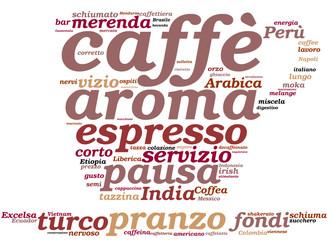 Caffè - tagcloud a forma di tazzina
