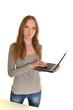 femme avec ordinateur portable isolé