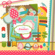 Easter scrapbook elements.