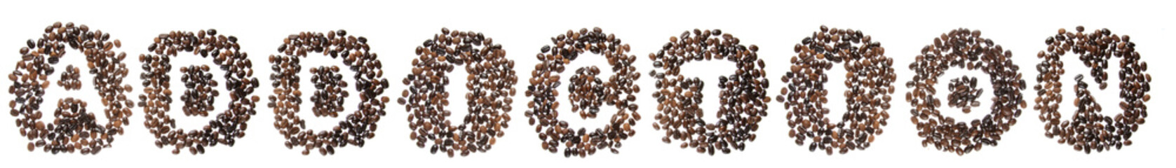 Coffe beans used to spell the word addiction