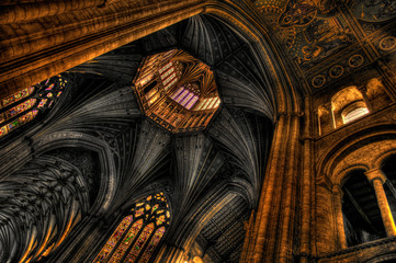 Octagon tower and vaulted ceiling of the Ely Cathedral, Cambridg