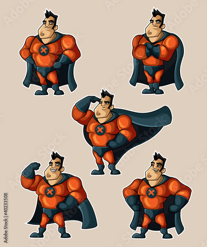 Tuinposter Superheroes Superhero in a suit with a cape in various poses