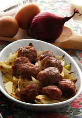 Polpette alle cipolle Meatballs with onions 肉丸与洋葱