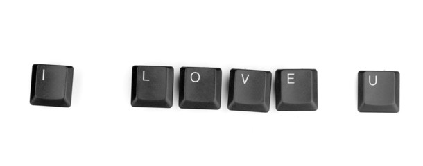 Keyboard keys saying i love u isolated on white