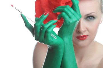 beautiful girl with green hands