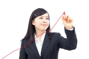 グラフを描く女性