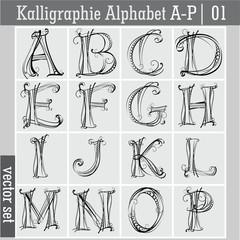 Kalligraphie Alphabet A-P| 01