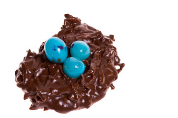 Candy bird nest with blue eggs