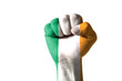 Fist painted in colors of ireland flag