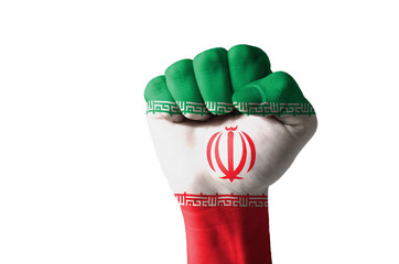 Fist painted in colors of iran flag