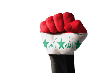 Fist painted in colors of iraq flag