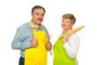 Chef team of senior couple