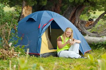 Camping happy woman