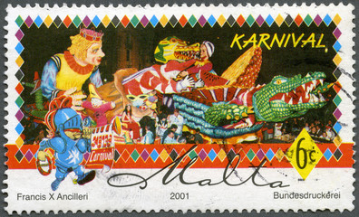 MALTA - 2001: A stamp printed by Malta shows Carnival