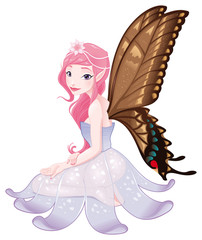 Young fairy. Vector isolated character.